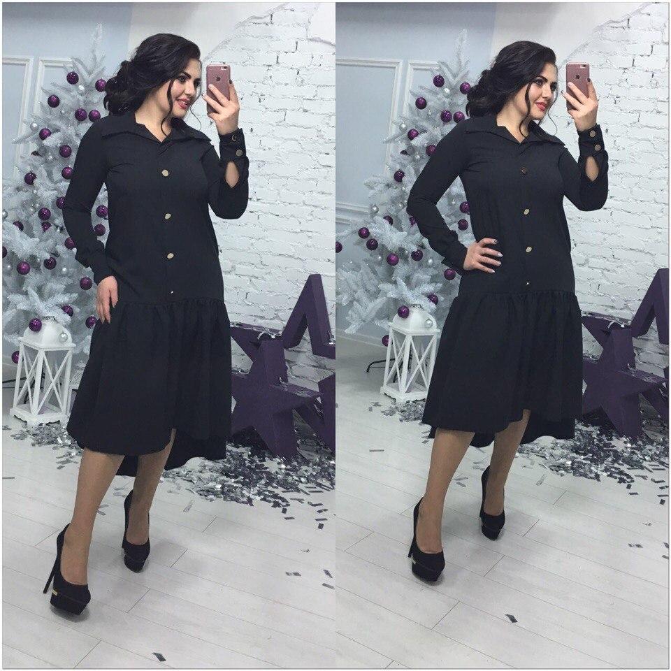 Красивое женское платье-рубашка  на большие размеры
