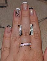 Набор серебряный с золотыми вставками, фото 1
