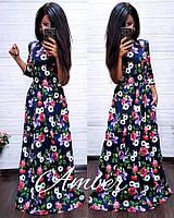 Женское красивое платье в пол в цветах,разные цвета.