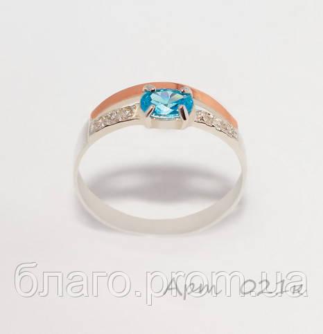 Кольцо серебряное с золотыми вставками