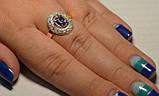 Кольцо серебряное с золотыми вставками, фото 2