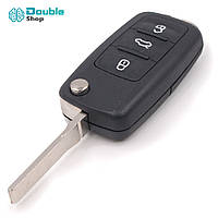 Корпус ключа Skoda выкидной, болванка под ключ зажигания + эмблема Skoda, 3 кнопки