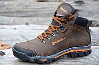 Крутые зимние мужские ботинки натуральная кожа, мех, шерсть коричневые молодежные 2017 (Код: Ш916)