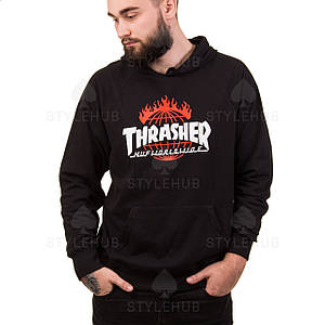 Thrasher x HUF Worldwide худи / чёрная / бирка оригинал