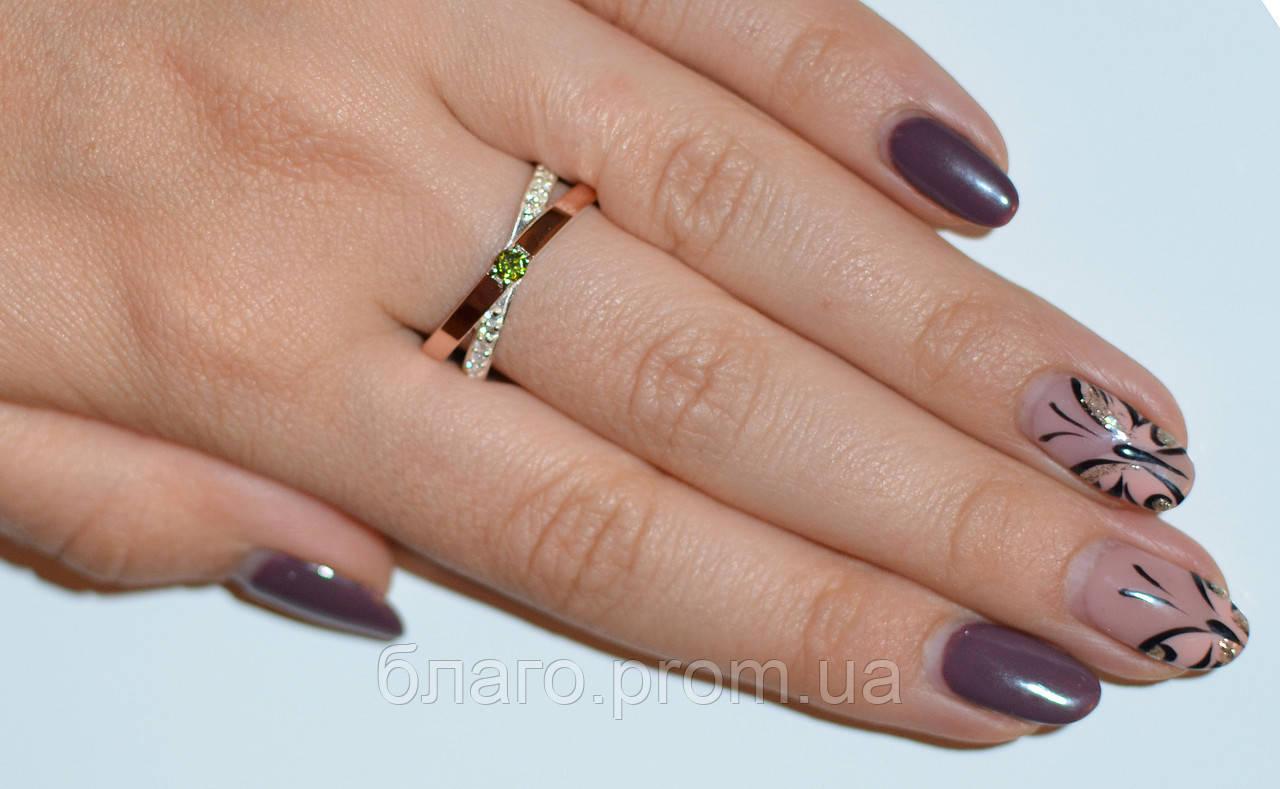 Серебряное кольцо с золотымим вставкамми