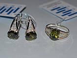 Серьги серебряные с золотыми вставками, фото 4