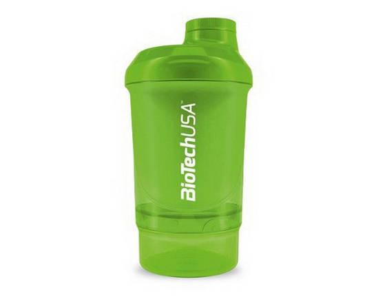 Шейкер BioTech Shaker Wave Mini 2 in 1 300 мл зеленый, фото 2