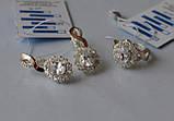 Серьги серебряные с золотыми вставками, фото 6