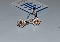Серебряные серьги с золотыми напайками, фото 1