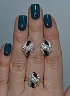 Набор серебряный с золотыми пластинками, фото 1