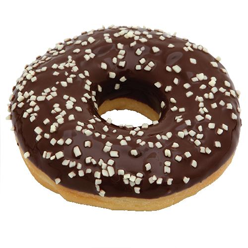 Черный пончик «DONUT» с посыпкой из белого шоколада