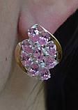 Серебряные серьги с золотыми накладками, фото 4