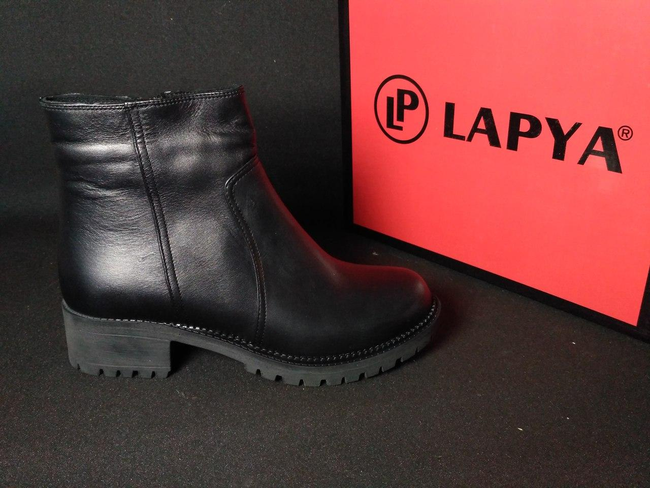 Ботинки кожаные женские на каблуку зимние (черные), ТОП-реплика