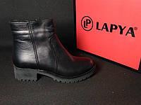 Ботинки кожаные женские на каблуку зимние (черные), ТОП-реплика, фото 1