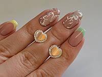 Серьги-вкрутки серебряные с золотыми пластинами, фото 1