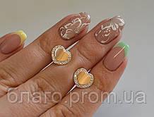 Сережки-вкрутки срібні з золотими пластинами