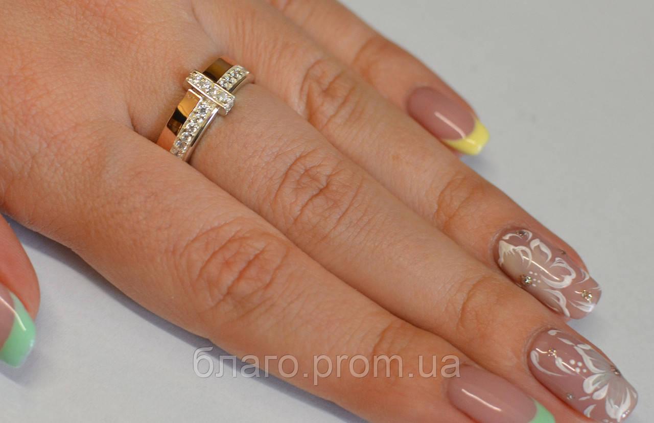 Кольцо из серебра с золотыми пластинами