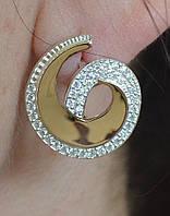 Серьги серебряные с золотыми пластинами, фото 1