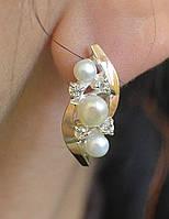 Серебряные серьги с золотыми вставками и жемчугом, фото 1