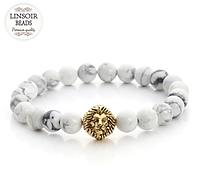 Мужской каменный браслет mod.WhiteLion gold