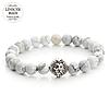 Мужской каменный браслет mod.WhiteLion silver