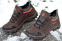 Ботинки кроссовки зимние кожа натуральный мех Merrell Мерел реплика мужские коричневые (Код: Ш271)