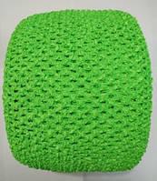 Ткань-резинка для ажурного топа, шапочки, ширина 15 см. Салатовая. Отрез 1 м.