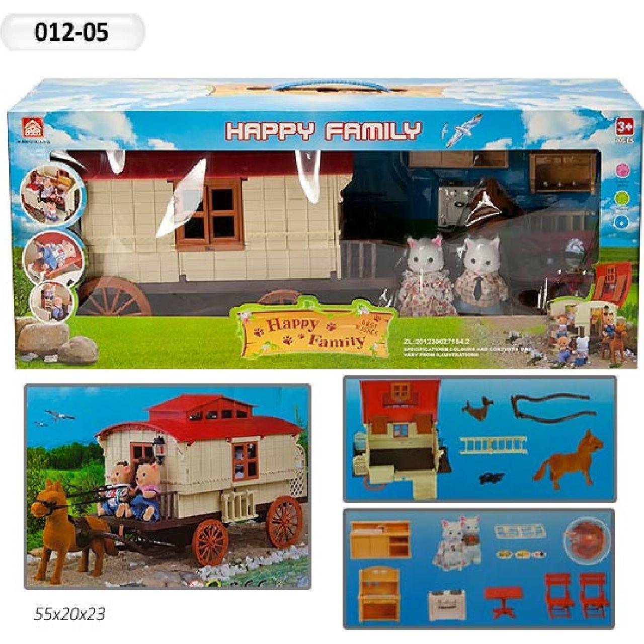 Повозка-дом Happy Family 012-05 Животные флоксовые (аналог Sylvanian Families)