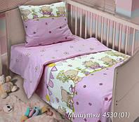 Комплект постельного белья  детский МИШУТКИ розовый (навол. 60*60)