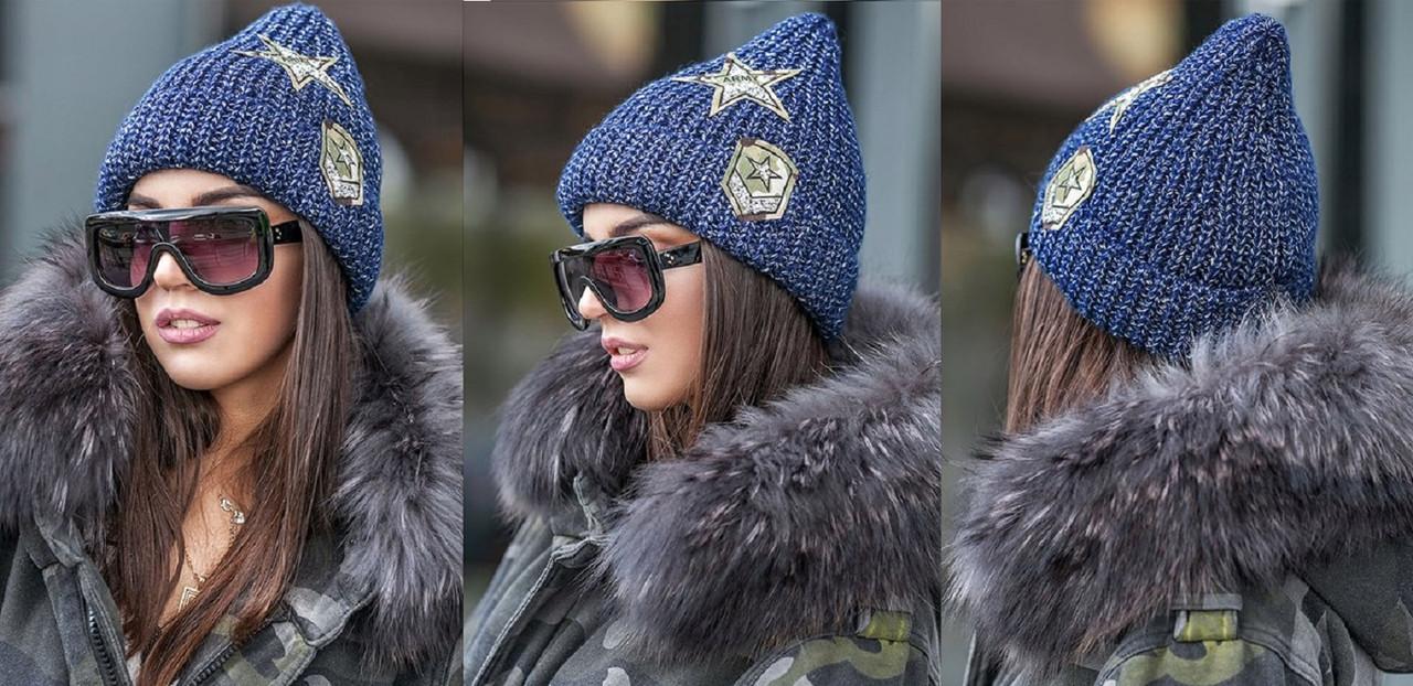 Женская зимняя вязаная шапка с подворотом, женские вязаные шапки оптом от  производителя