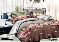 """Двуспальный комплект постельного белья 180*220 из ранфорса """"Роскошь роз """""""