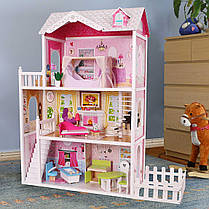 Ігровий ляльковий будиночок для барбі Ecotoys California 4107fm + тераса, 124см!, фото 3