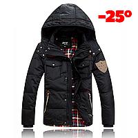 Мужская зимняя куртка пуховик JEEP в наличии! (JP_01), чёрный/ РАЗМЕР 44-46