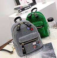Блестящий рюкзак сумка мини с патчами.