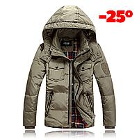 Мужская зимняя куртка пуховик JEEP в наличии! (JP_03), бежевый. РАЗМЕР 46, 50, фото 1