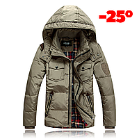 Мужская зимняя куртка пуховик JEEP в наличии! (JP_03), бежевый. РАЗМЕР 44-50