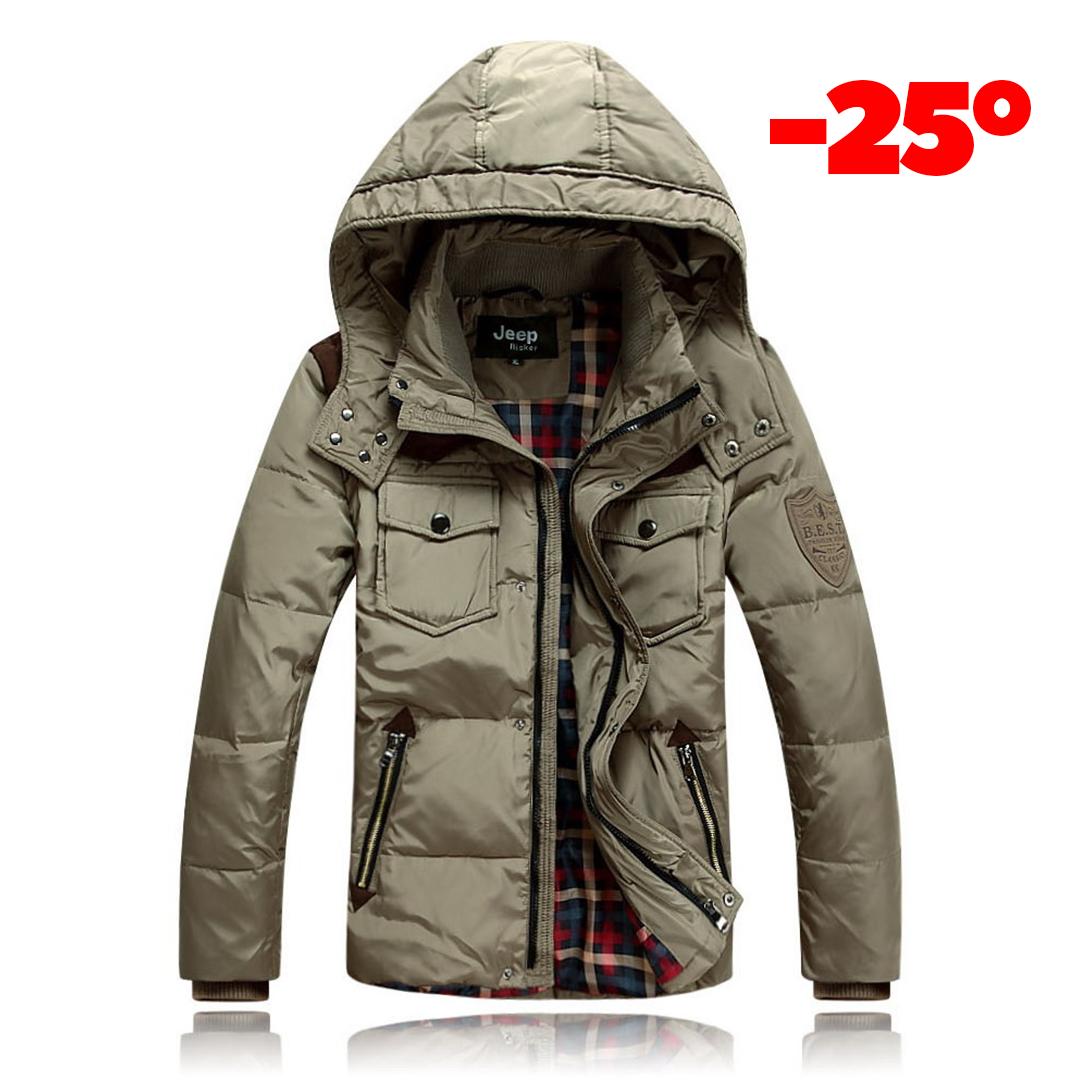7c56cce4249d Мужская зимняя куртка пуховик JEEP в наличии! (JP_03), бежевый.