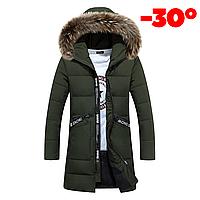 Мужская зимняя удлинённая куртка SNOW в наличии! Размер 44-48, зелёным