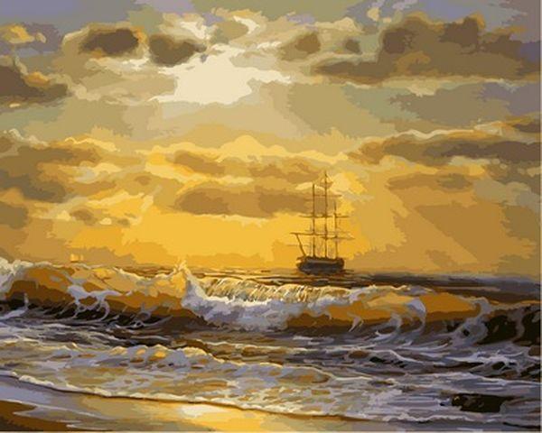 Картины по номерам на холсте 40×50 см. Корабль на рассвете