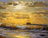 Картины по номерам на холсте 40×50 см. Корабль на рассвете, фото 1