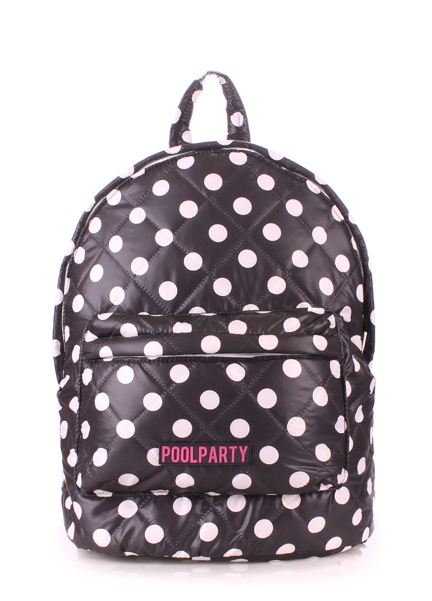 Рюкзак стьобаний POOLPARTY backpack-theone-black-dots