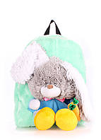 Детский рюкзак POOLPARTY с зайцем kiddy-backpack-rabbit-green