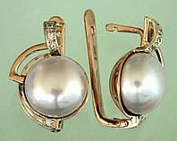 Золоті сережки  з діамантом та перлиною