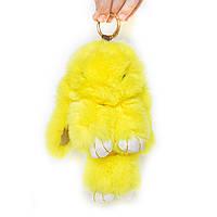 Брелок кролик меховый на сумку - жёлтый