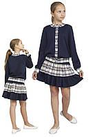 Костюм для девочки трикотажный М-1100-1102 110 116 12 128 134 140 146 152 158 синий, фото 1