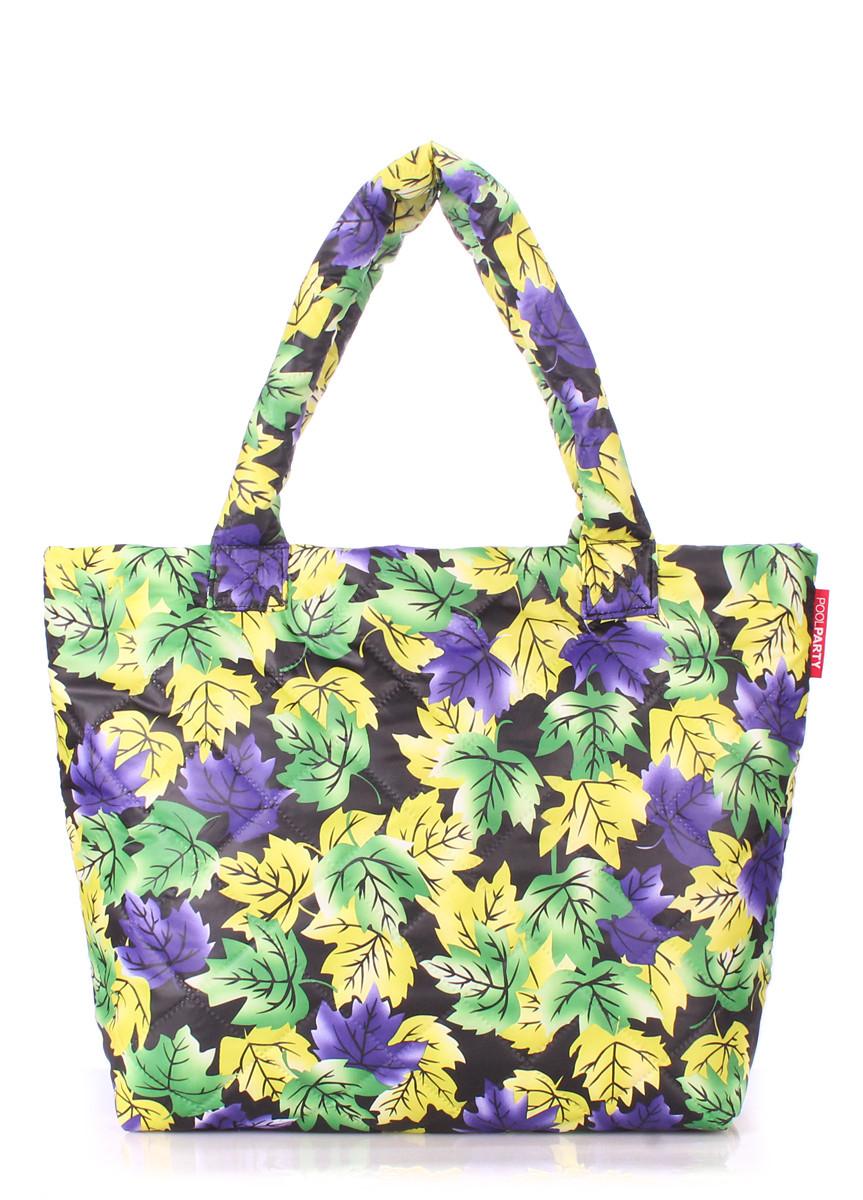Дутая сумка POOLPARTY с принтом pp4-yellow-violet-leaves