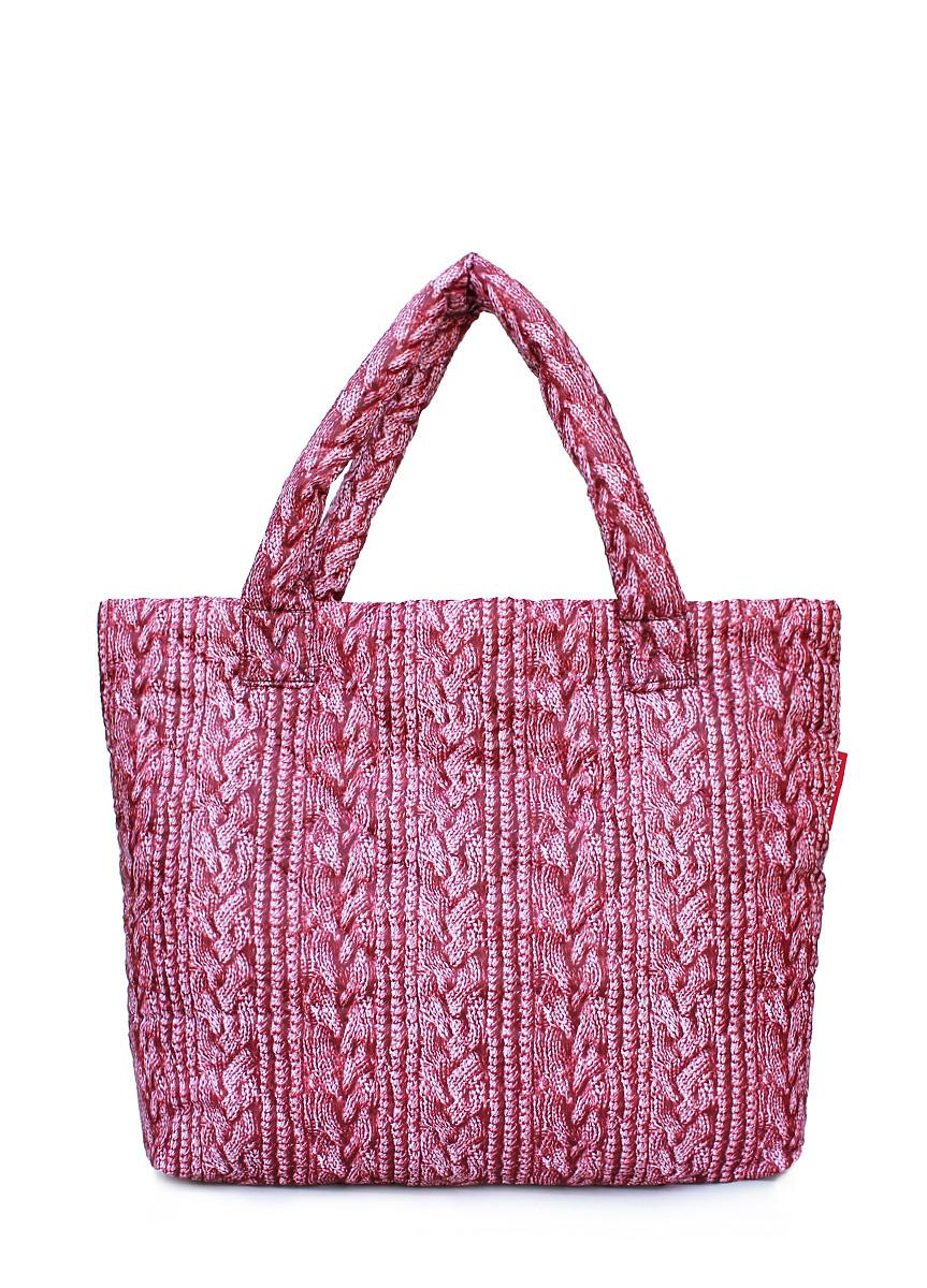 Дутая сумка POOLPARTY с вязкой pool-68-red-sweater