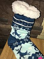 Шерстяные носки тапочки женские на меху