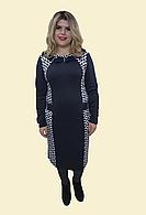 """Женское синие платье """"Французский трикотаж бусы"""", р.54-62."""