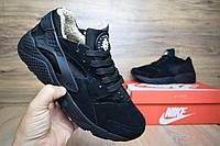 Зимние кроссовки Nike Huarache с мехом black. Живое фото